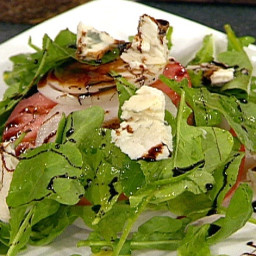 Stack Salad of Beefsteak Tomatoes, Onions, Roquefort Cheese with Balsamic S