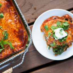 Stacked Garden Enchiladas with Fresh Oregano and Cilantro