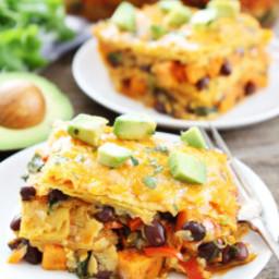 Stacked Sweet Potato and Black Bean Enchiladas