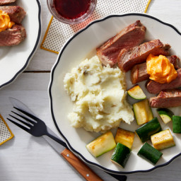 Steak & Spicy Butter with Mashed Potatoes & Zucchini