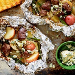 Steak and Potato Grill Packets with Blue Cheese and Rosemary