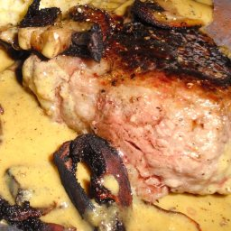 Steak Au Poivre with Mustard Shallot Sauce