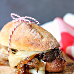 Steak Sandwiches with Caramelized Onions and Provolone Cheese