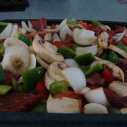 Steak tips with onions and peppers