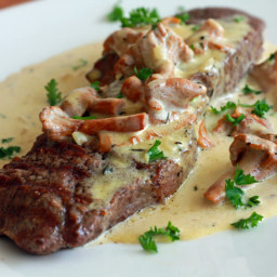 Steak With Creamy Chanterelle Sauce