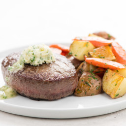 Steak with Garlic Chive Butterand roasted French-style potato salad