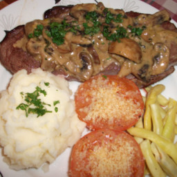 Steak with Mushroom And Brandy Sauce