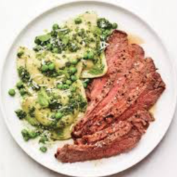 Steak with Pesto Pierogi