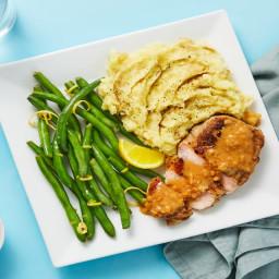 Steakhouse Pork Chops with a Creamy Shallot Pan Sauce & Lemony Green Beans