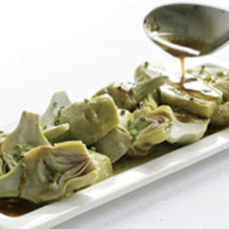 Steamed Baby Artichokes with Lemony Brown-Butter Sauce and Chives