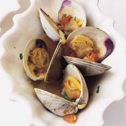 Steamed Clams in Garlic Saffron Broth