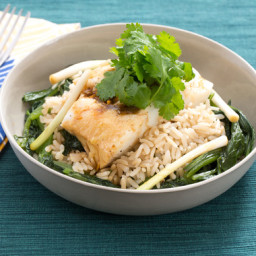 Steamed Codwith Pickled Ramps and Yu Choy