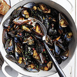 Steamed Mussels with Crisp Chorizo and Potatoes