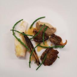 Steamed Plaice Darne with Wild Mushroom Puree and Ceps