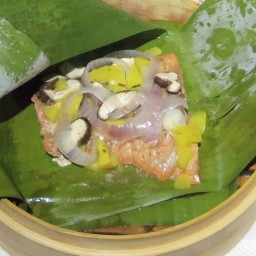 Steamed Salmon in banana Leaf