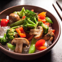 Steamed veggies over rice
