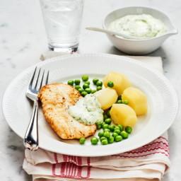 Stekt torsk med dillsås och ärter