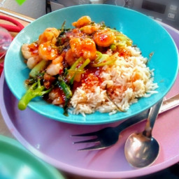Sticky Chilli Prawns