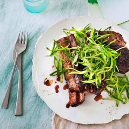 Sticky master-stock beef ribs with cucumber-sesame relish