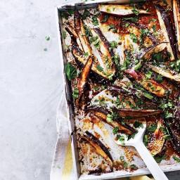 Sticky miso and tahini aubergine wedges
