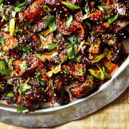 Sticky, spicy eggplant with toasted sesame seeds and spring onions