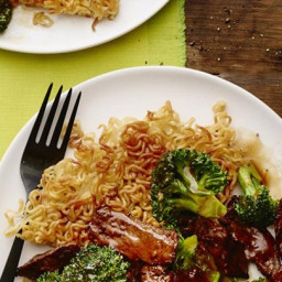 Stir-Fried Beef and Broccoli with Crisp Ramen Noodle Cake
