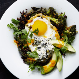 Stir-Fried Black Rice with Fried Egg and Roasted Broccoli