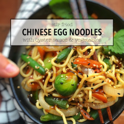 Stir Fried Chinese Egg Noodles with Oyster Sauce and Vegetables