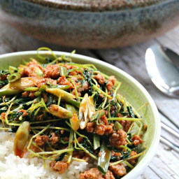 Stir-Fried Minced Pork With Snow Pea Shoots And Gochujang