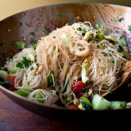 Stir-Fried Rice Stick Noodles With Bok Choy and Cherry Tomatoes