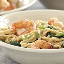 Stir-Fried Shrimp with Spinach and Peanut Noodles