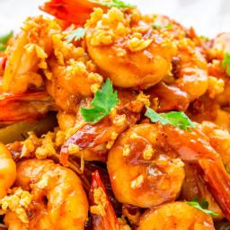 Stir-Fried Shrimps with Butter Roasted Garlic