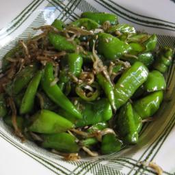 Stir Fry Shishito Pepper & Dried Anchovy (Kkwarigochu 꽈리고추 Myulchi Bokkeum)