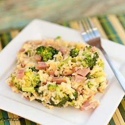Stovetop Cheesy Broccoli Rice with Ham