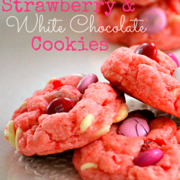 Strawberry and White Chocolate Cake Mix Cookies