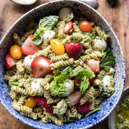 Strawberry Avocado Pesto Pasta Salad