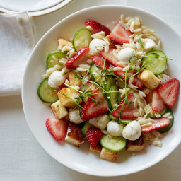 Strawberry Caprese Panzanella Salad
