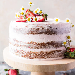 Strawberry Coconut Carrot Cake with Mascarpone Buttercream