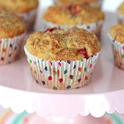 Strawberry Rhubarb Oatmeal Muffins