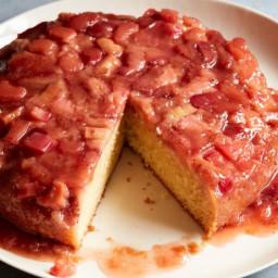 Strawberry Rhubarb Upside-Down Cake