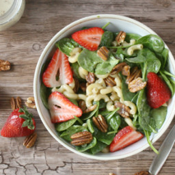 Strawberry Spinach and Pecan Pasta Salad with Lemon Poppyseed Dressing
