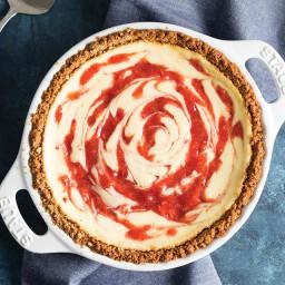 Strawberry Swirl Cheesecake Pie