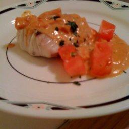 Striped Bass (Rockfish) with Tomato Basil Cream Sauce