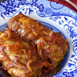Stuffed Cabbage Recipe with Tomato Caramelized Onion Sauce