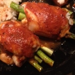 Stuffed Chicken with Spicy Roasted Red Pepper Sauce