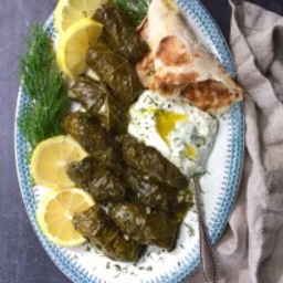 Stuffed Grape Leaves with Rice and Herbs (Dolmades)