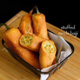 stuffed mirchi bajji recipe | stuffed menasinakai bajji | milagai bajji rec