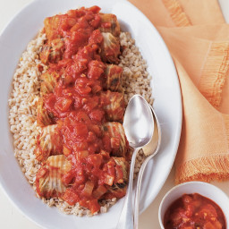 Stuffed Napa Cabbage Braised in Tomato Sauce
