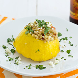 Stuffed Pattypan Squash with Quinoa and Fresh Corn