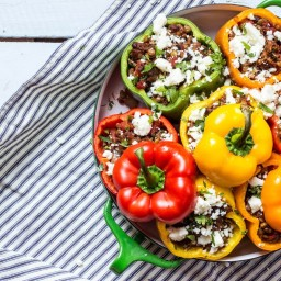 Stuffed Roasted Peppers with Lentils, Beef and Mushrooms